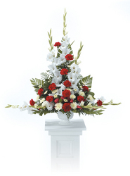 CTT2421 Red & White Pedestal Arrangement from Yesterday's and Tomorrows in Warner Robins, GA